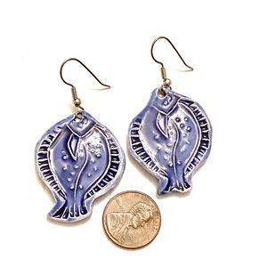 Jewelry - FISH Earrings ceramic Blue